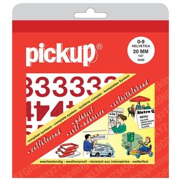 Pickup plakcijfers 0-9 Helvetica rood 20 mm