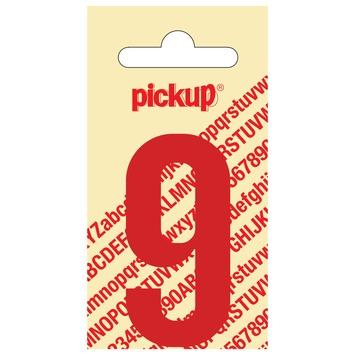 Pickup plakcijfer 9 rood glans 60 mm