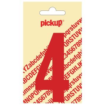 Pickup plakcijfer 4 rood glans 90 mm