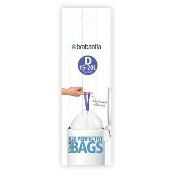 Afvalzak met trekbandsluiting 'PerfectFit' D, 15-20 liter (20 stuks/rol)