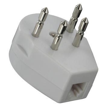 Q-Link Telefoon Stekker Tweeweg Modulair 4-polig Wit