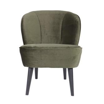 WOOOD fauteuil Sara fluweel warmgroen