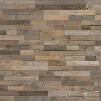 Wandbekleding WoWood plakhout grijs waas mix (ca. 1,15 m2)