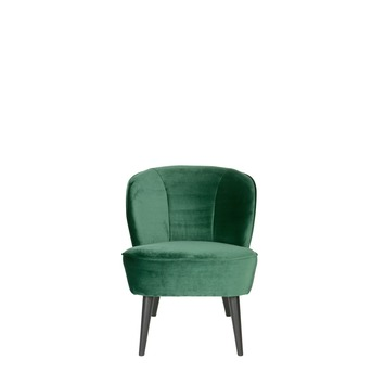 WOOOD fauteuil Sara fluweel flesgroen