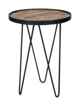 WOOOD bijzettafel Lev hout en zwart gelakt metaal Ø39x52 cm