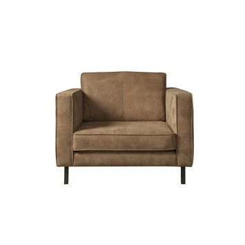 Taupe Kleurige Fauteuil.Loveseat Fauteuil Ruben Met Glad Leder Taupe