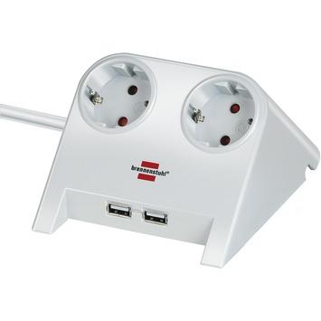 Brennenstuhl Desktop power wit met 2 USB aansluitingen