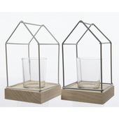 Theelichthouder huis glas/hout 16x9x9 cm