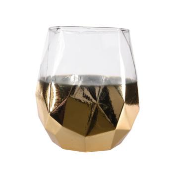 Windlicht glas goudlook Ø15x19 cm