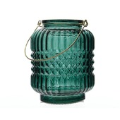 Theelichthouder glas groen met handvat Ø9x12 cm