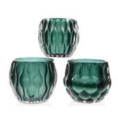 Theelichthouder glas groen Ø10x9 cm