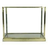Lantaarn staal/glas goudlook 17x21x11 cm