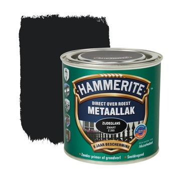 Hammerite Direct over Roest metaallak zijdeglans zwart 250 ml