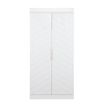 Woood Kledingkast Connect Grenen Wit Visgraat Patroon 195x94x53 Cm