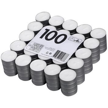 Theelicht 4uur wit brick 100 stuks