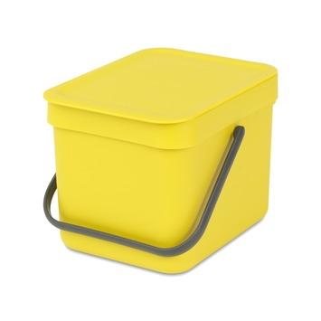 Brabantia afvalemmer Sort & Go 6l geel