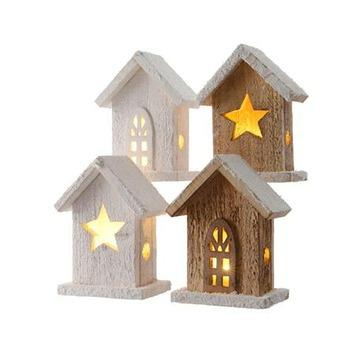 Houten huisje met LED-verlichting. Per stuk kopen? Kerstverlichting ...