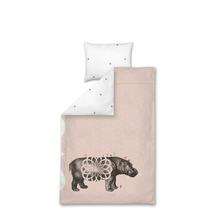 1-persoons dekbedovertrek Popotamé/nijlpaard roze 140x 220 cm