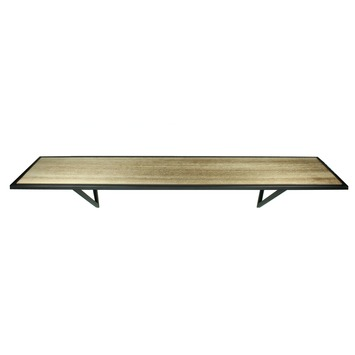 Wandplank Zwart Metaal Hout.Wandplank Hout Metaal 17x78x17 Cm