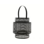 Lantaarn ijzer/glas zwart Ø21x23 cm