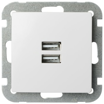 Plieger Luna inbouw stopcontact 2xUSB