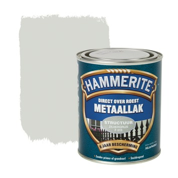 Hammerite Direct over Roest metaallak structuur zilvergrijs 750 ml