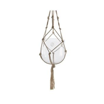Hanger macrameglas/katoen Ø19x19 cm