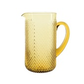 Kan glas reliëf geel Ø11x21cm