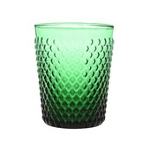 Drinkglas reliëf donkergroen Ø8x10cm