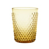 Drinkglas glas reliëf geel Ø8x10 cm