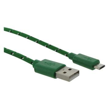 Q-Link laadsnoer textiel micro-USB 1.5 meter groen