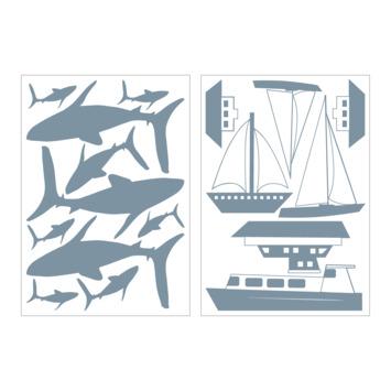 Muursticker nautisch blauw (dessin 89412)