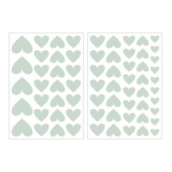 Muursticker hartjes mintgroen (dessin 89415)