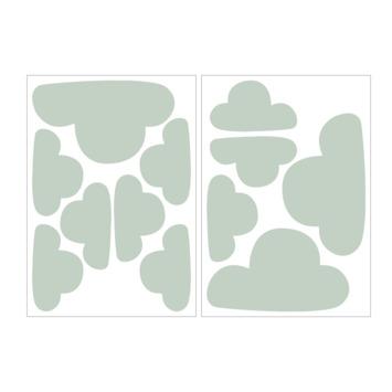 Muursticker wolken mintgroen (dessin 89418)