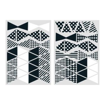 Muursticker driehoekjes zwart-wit (dessin 89427)