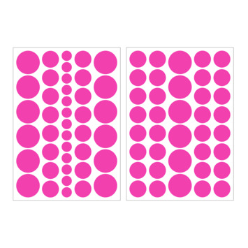 Muursticker stippen fluo roze (dessin 89429)