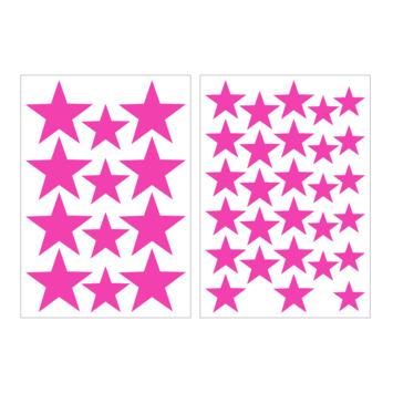 Muursticker sterren fluo roze (dessin 89431)