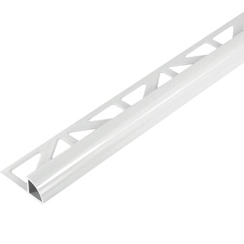 Tegelprofiel kwartrond aluminium wit 10 mm 300 cm