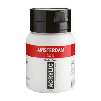 Amsterdam verf acrylverf titaanwit flacon 500ml