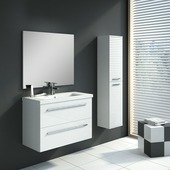 Handson Hera badkamermeubel 80 cm met spiegel en kolomkast hoogglans wit