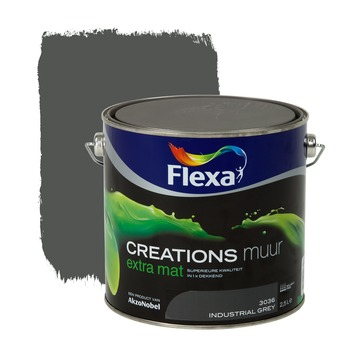 Flexa Creations muurverf extra mat industrial grey 2,5 l