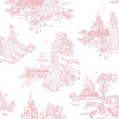 Papierbehang princess tekening roze  (dessin 70-233)