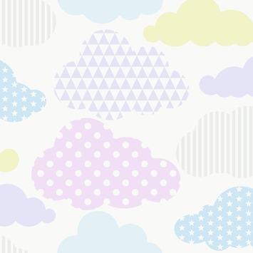 Vliesbehang wolken pastel kleuren (dessin 100112)