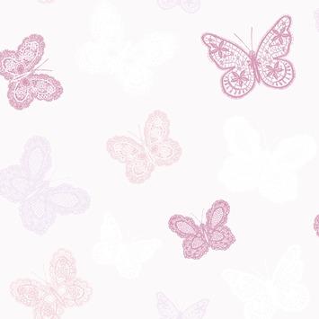 Vliesbehang vlinders wit-roze (dessin 100114)