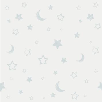 Papierbehang sterren wit-blauw (dessin df71299)
