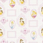 Papierbehang princess lijstjes multicolour  (dessin d71799)