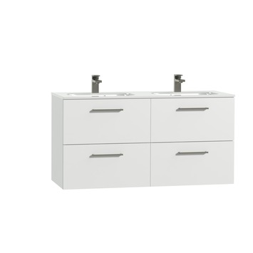 Tiger Studio badkamermeubel 120cm hoogglans wit met dubbele witte wastafel