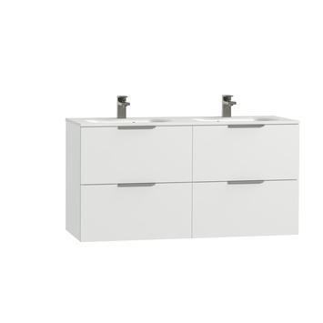 Tiger Studio badkamermeubel 120 cm hoogglans wit met wastafel dubbel polybeton hoogglans wit greep rvs plat