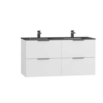 Tiger Studio badkamermeubel 120 cm hoogglans wit met wastafel dubbel polybeton mat zwart greep rvs plat