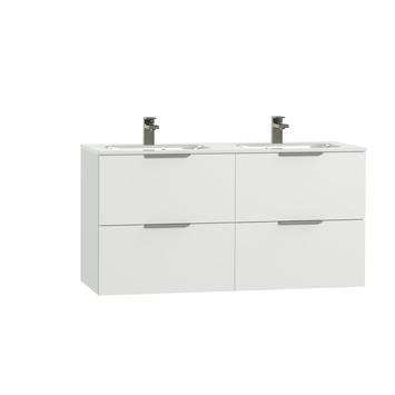 Tiger Studio badkamermeubel 120 cm hoogglans wit met wastafel dubbel keramiek hoogglans wit greep rvs plat